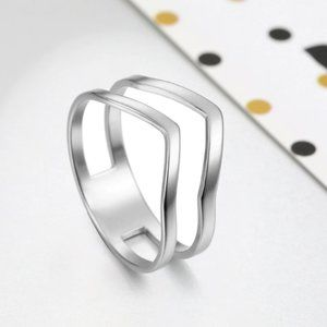 Women's Stainless Steel Double Chevron Ring